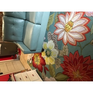 Nourison Hand-Hooked Fantasy Blue Floral Area Rug (8' x 10'6)