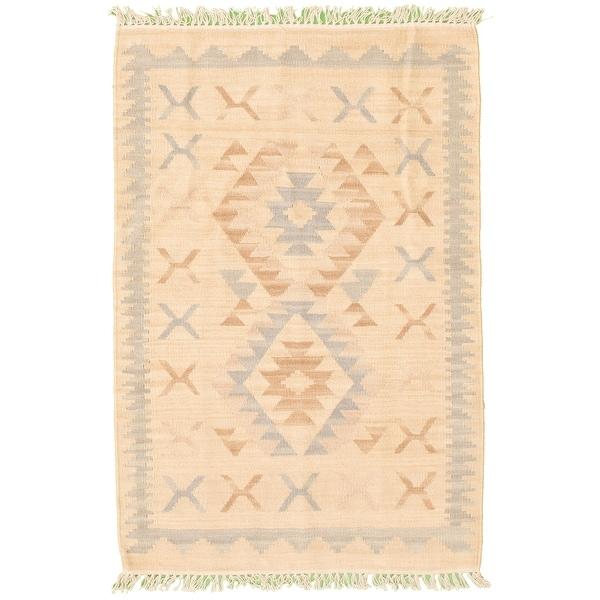 ECARPETGALLERY Anatolian FW Cream Wool Kilim - 2'7 x 4'0. Opens flyout.