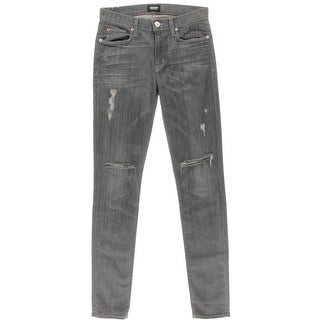 Hudson Womens Destroyed Mid-Rise Skinny Jeans