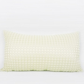 "G Home Collection Luxury Beige Textured Checkered Pillow 12""X22"""