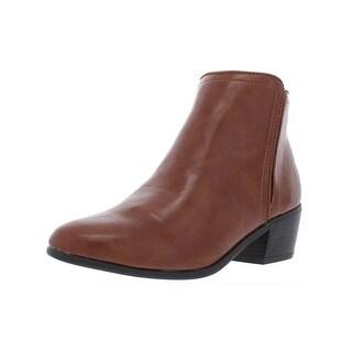Karen Scott Womens Fannia Booties Faux Leather Ankle