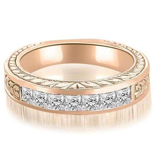 0.70 cttw. 14K Rose Gold Princess Diamond Vintage Wedding Band