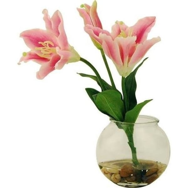 Designs by Lauren 15W198 13 in. Tiger Lilies in a Clear Glass Bowl with River Rocks & Acrylic Water