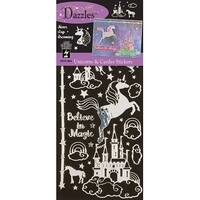 Dazzles Stickers-Unicorns & Castles, Silver & Clear Foil