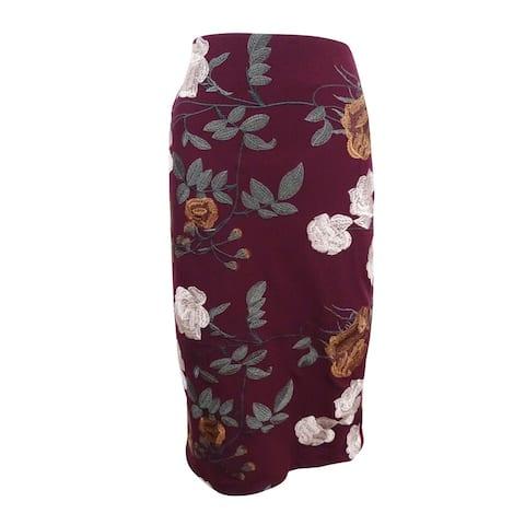 ECI New York Women's Embroidered Pencil Skirt (8, Plum) - Plum - 8