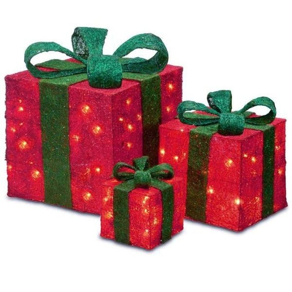 Set of 3 Sparkling Red Sisal Gift Boxes Lighted Christmas Outdoor Decorations