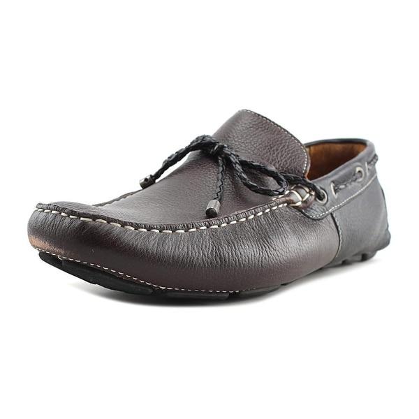 Mike Konos Tie Moc Men Round Toe Leather Brown Loafer