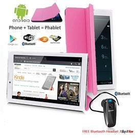 "Indigi® 7.0"" 3G Unlocked 2-in-1 Android 4.4 SmartPhone & TabletPC w/ Built-in Smart Cover + Bluetooth Included(Pink)"