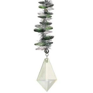"6"" Seasons of Elegance Holographic Christmas Drop Ornament with Diamond Pendant"