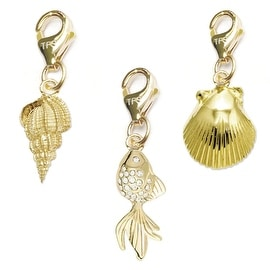 Julieta Jewelry Goldfish, Conch Shell, Seashell 14k Gold Over Sterling Silver Clip-On Charm Set
