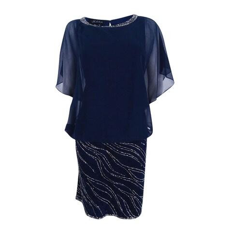 J Kara Women's Beaded Chiffon Blouson Dress - Navy