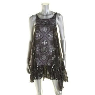 Free People Womens Asymmetric Printed Slip Dress - XS