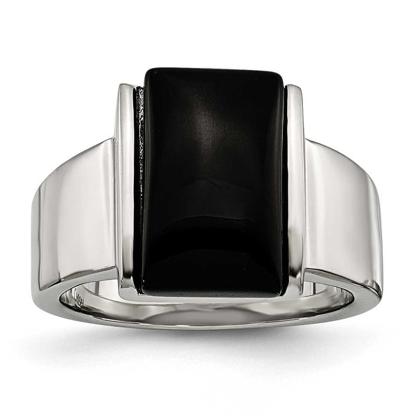 Chisel Stainless Steel Black Glass Ring
