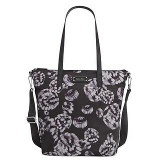 Calvin Klein Womens Tote Handbag Nylon Globe Print - Large
