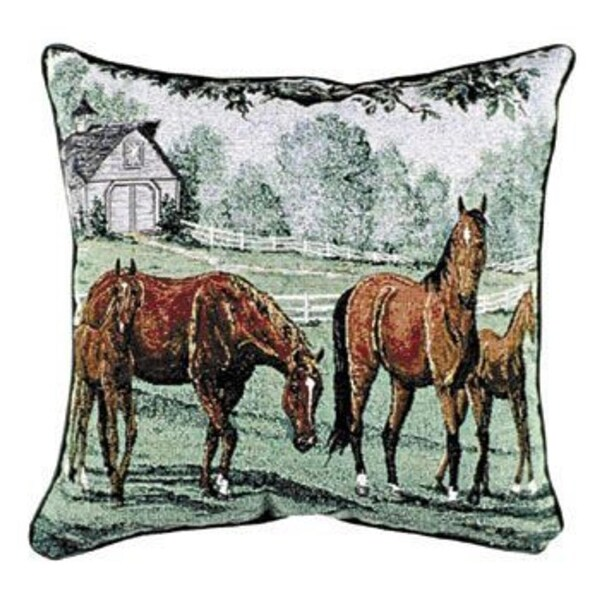 "Lazy Meadow Horses Decorative Throw Pillow 17"" x 17"""