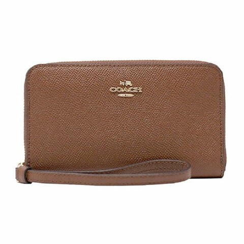 Coach F58053 Crossgrain Leather Zip Phone Wallet (IM/Saddle 2) - Saddle
