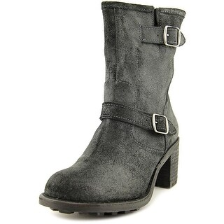 Rocket Dog Edmond Women Round Toe Leather Black Mid Calf Boot
