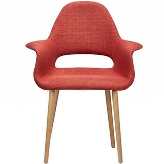 2xhome  Mid Century Modern Upholstered Fabric Chair with Light brown Natural Wood Legs Padded Cushion For Kitchen Arms Desk (Orange)