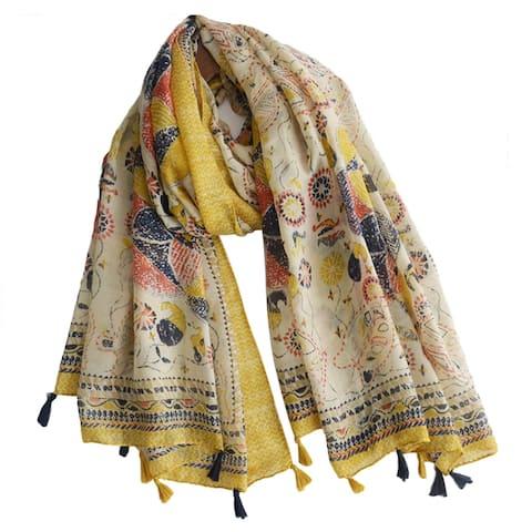 Vintage Sunflower Pattern Scarves Women Silk Cover Up Scarf Beach Travel Shawl