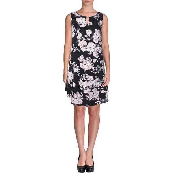 Aqua Womens Cocktail Dress Sleeveless Floral Print