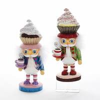 """Pack of 2 Vibrantly Colored Cupcake Hat Nutcrackers Christmas Decorations 9"""" - BLue"""