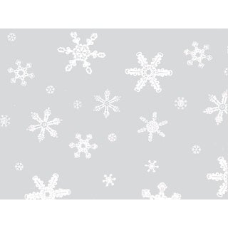 "Pack Of 1, 24"" x 100' 1.0 Mil Snowflakes Christmas Print Cello Rolls W/1/2"", 1"" & 2"" White Snowflakes"