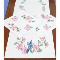 Stamped Dresser Scarf & Doilies Perle Edge-Birds