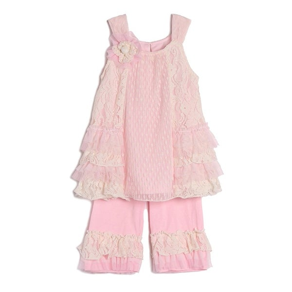 Isobella & Chloe Baby Girls Pink Lace Ruffle Knit 2 Pc Outfit Set