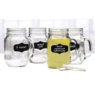 Palais Glassware Mason Jar Tumbler Mug with Handle - 17.5 Ounces - Set of 4 (Clear w/Chalkboard & Ch