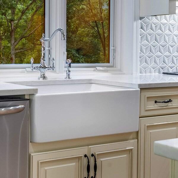 White 30-inch Single Bowl Farmhouse Apron Kitchen Sink. Opens flyout.