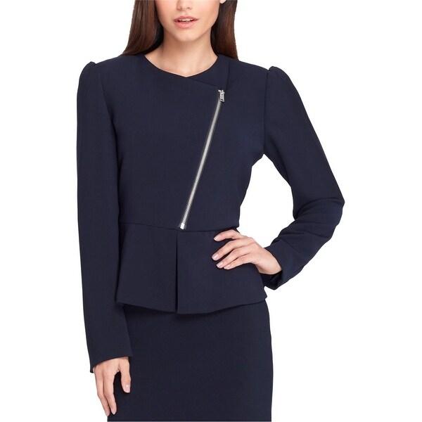 Tahari Womens Zip Front Blazer Jacket, Blue, 10. Opens flyout.