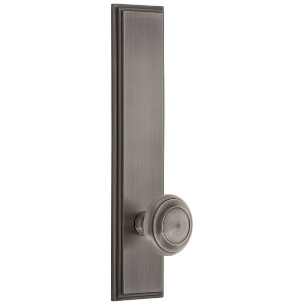 Grandeur CARCIR_TP_PRV_234_RH Carre Solid Brass Tall Plate Rose Right Handed Privacy Door Knob Set with Circulaire Knob and