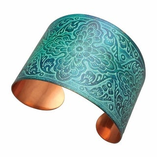 """Women's Davika Embossed Cuff Bracelet - Brass with Copper Finish - 2.25"""" Wide - turquoise"""
