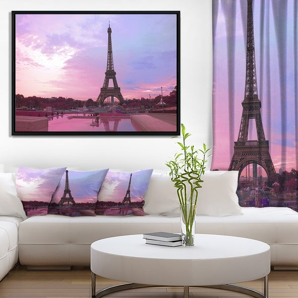 Designart 'Paris Eiffel Towerin Purple Tone' Landscape Photography Framed Canvas Print. Opens flyout.