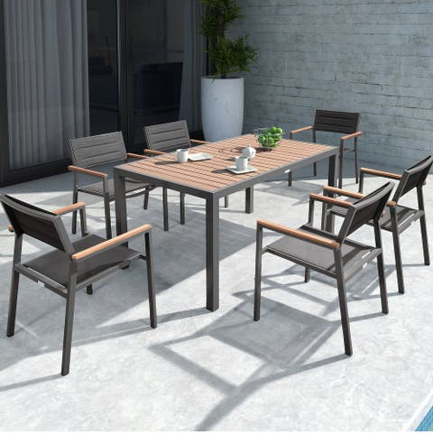 HIGOLD 6478 Auto 7 Pieces Outdoor Dining Set for 6 Space Aluminum Imitation Wood Matte Black Powder Coating