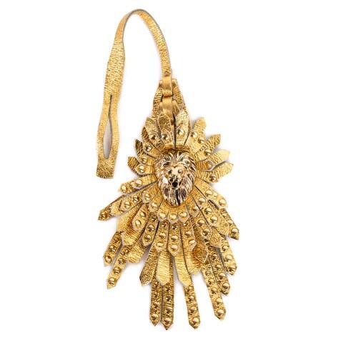 Roberto Cavalli Gold Laminated Leather Lion Head Studded Fringe Keychain