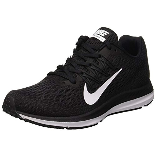 3800ba786ac61 Shop Nike Women s Air Zoom Winflo 5 Running Shoes Black White-Anthracite