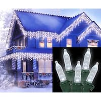 Set of 70 Polar White LED M5 Mini Icicle Christmas Lights - Green Wire