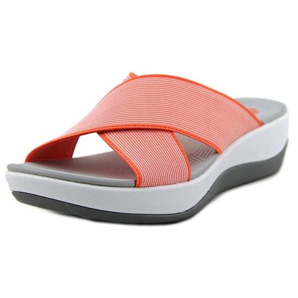Clarks Narrative Arla Elin Women Open Toe Canvas Pink Slides Sandal