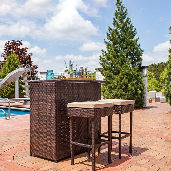 Sunnydaze Melindi 3 Piece Wicker Rattan Outdoor Patio Bar Set with Tan Cushions