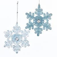 """Club Pack of 24 Icy Blue Glittered Snowflake Christmas Ornaments 5"""""""