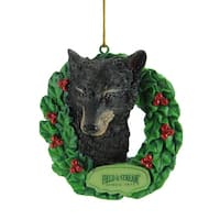 "3"" Field & Stream Black Bear In Wreath Christmas Ornament"