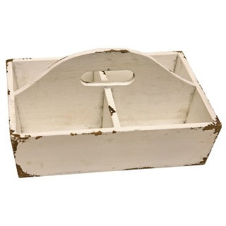 Cream White Wood Tote with 4 Compartments 11 Inches Distressed Finish
