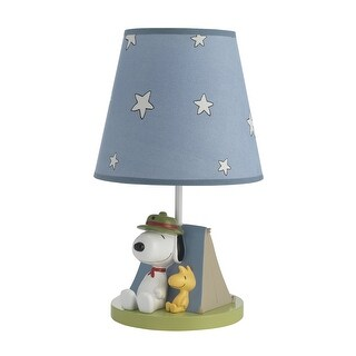 Lambs & Ivy Blue Snoopy's Campout Lamp with Shade & Bulb