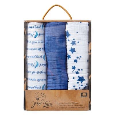 3 Pack Muslin Baby Blankets Galaxy Theme - N/A