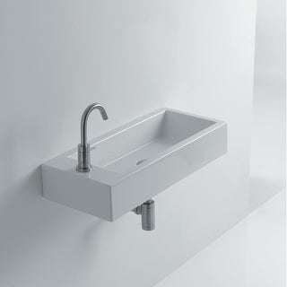 """WS Bath Collections Hox Mini 45R WS05301F  Whitestone 17-4/5"""" Ceramic Wall Mounted or Vessel Bathroom Sink with Single Faucet"""
