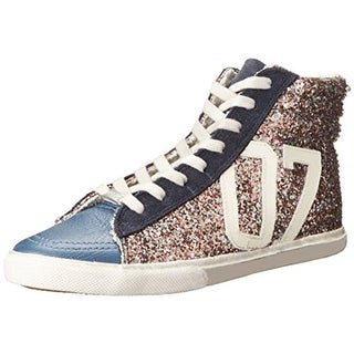 Kim & Zozi Womens Glitter Hi Leather Colorblock Fashion Sneakers