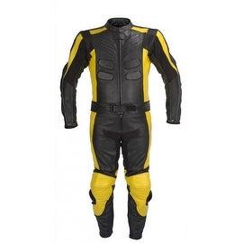 2PC Motorcycle Biker Original Drum Dyed Cowhide Race Suit CE Armor Black RS1.1