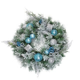 "24"" Flocked Blue and Silver Sequin Ornaments Artificial Pine Christmas Wreath - Unlit"