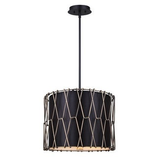 Canarm Hatta 2 Light Rod Pendant - Matte Black with Gold - with Black Shade